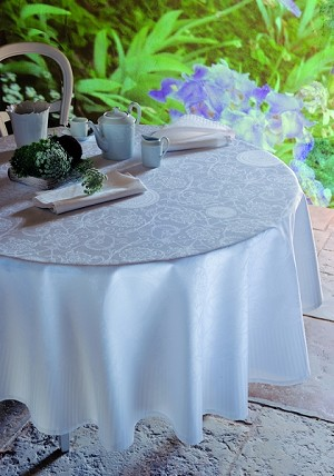 Appoline White Tablecloth , Green Sweet