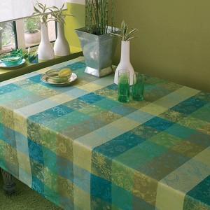 Mille Couleurs Lime Tablecloth, 100% Cotton
