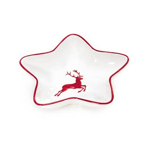 Ruby Red Deer Star Dish 5.5""