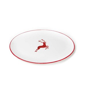 Ruby Red Deer (Stag) Oval Platter 15""