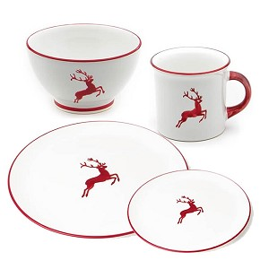 Ruby Red Deer (Stag) Coupe 4 piece Place Setting Large Dinner