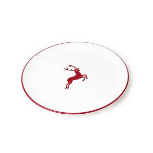Ruby Red Deer Coupe Dinner Plate 9.8""