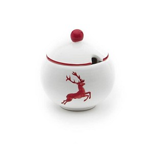 Ruby Red Deer (Stag) Sugar Bowl