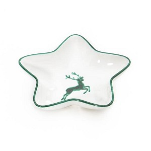 Green Deer (Stag) Classic Star Shaped Dish