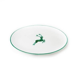 Green Deer Oval Platter 13""