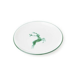 Green Deer (Stag) Coupe Dessert Plate 7.9""