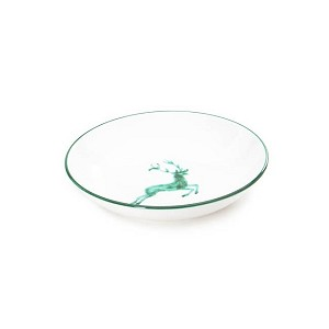 Green Deer (Stag) Coupe Soup Plate 7.9''