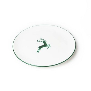 Green Deer (Stag) Coupe Dinner Plate 11''