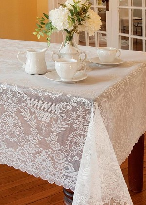 Downton Abbey Grantham Tablecloth Rectangle White