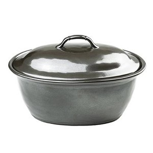 "Pewter Stoneware 12""  Covered Casserole"