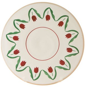Red Tulip Footed Cake Plate 9'' - RETIRED