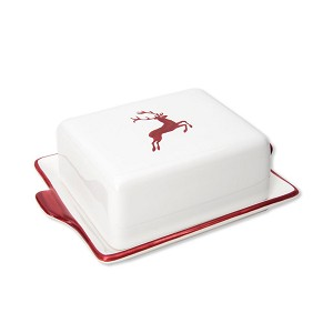 Bordeaux Wine Red Deer Classic Butter Dish Small