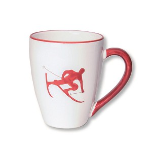 Toni the Skier Mug, Ruby Red