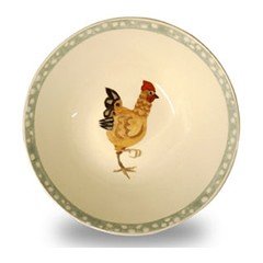 Rosies Hens Sage Cereal Bowl Retired