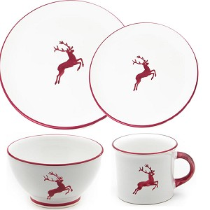 Wine Red Deer (Stag) Coupe Place Setting